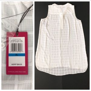 Vince Camuto Tops - Vince Camuto White Check Sheer Sleeveless Tunic
